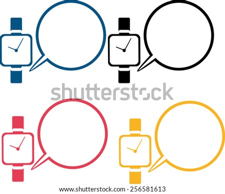 vector icon design modern smart watch with message frame - stock vector