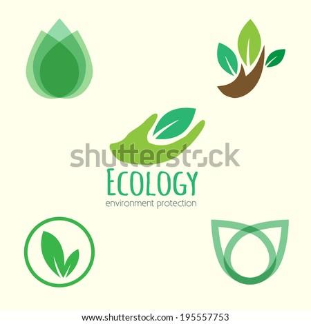 Vector icon ecology set. Environment protection. - stock vector