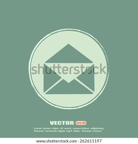 Vector icon Envelope with paper sheet - concept of email - stock vector