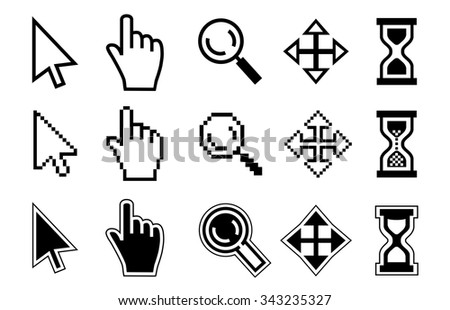 Vector icon hand, magnifier, cursor and hourglass on white background.  - stock vector