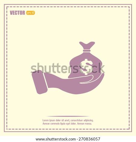 Vector icon hand silhouette protecting dollar money bag exchange - stock vector