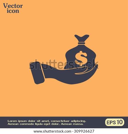 Vector icon hand silhouette protecting dollar money bag exchange concept.  - stock vector