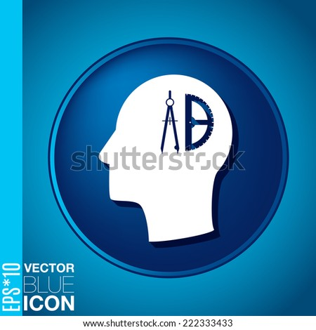 Vector Icon head think silhoutte vector man and his mind about the compass and protractor. characters geometry. Education sign. symbol icon drawing and geometry - stock vector