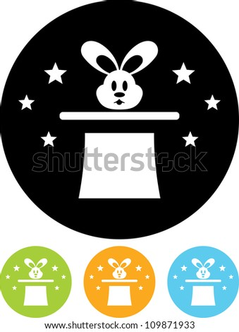 Vector icon isolated - Circus rabbit in the magician's hat - stock vector