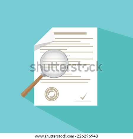Vector icon - magnifier and paper document - stock vector