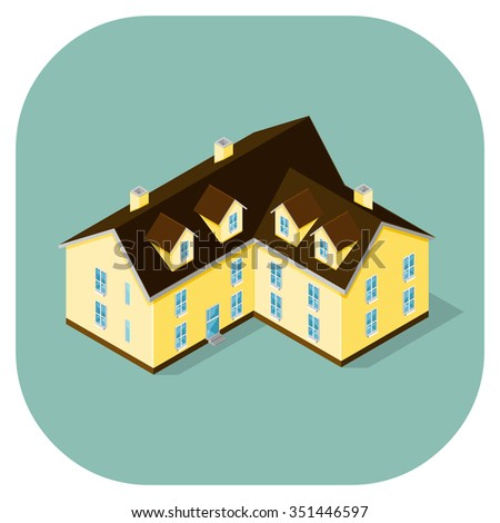 Vector icon of a large palatial house. A vector icon illustration of a mansion home. large wealthy residential built structure. - stock vector