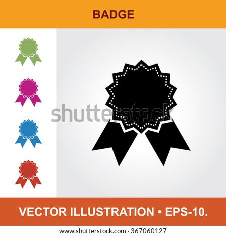Vector Icon Of Badge With Title & Small Multicolored Icons. Eps-10. - stock vector