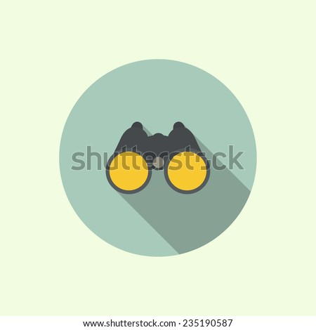 Vector icon of binoculars. Flat design with long shadow.  - stock vector