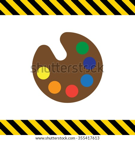Vector icon of drawing palette with various paint samples - stock vector