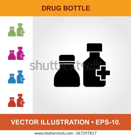 Vector Icon Of Drug Bottles With Title & Small Multicolored Icons. Eps-10. - stock vector