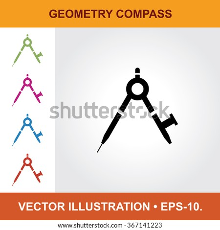 Vector Icon Of Geometry Compass With Title & Small Multicolored Icons. Eps-10. - stock vector