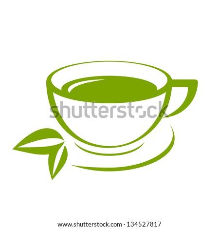 Vector icon of green tea cup - stock vector