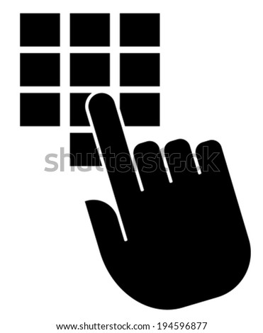 Vector icon of hand pushing button on keypad - stock vector