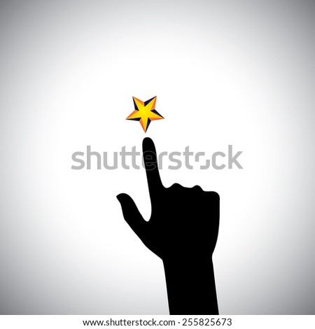 vector icon of hand reaching for star - concept of ambition. This also represents concepts like aspiration, determination, will power, greed, hope, dreams, initiative, trying, spirit, zeal - stock vector