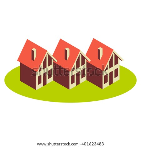 Vector icon of houses. Logo design template. Sign of real estate. View of street with group of cottages. Color illustration for print, web - stock vector