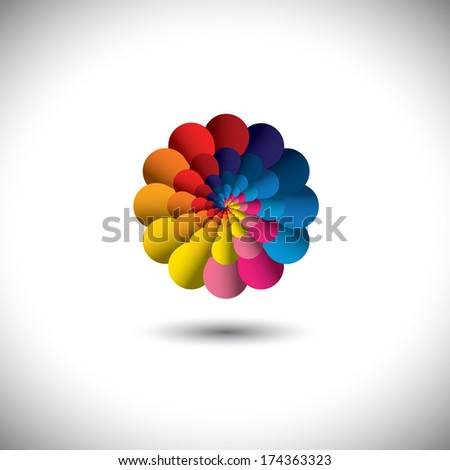 vector icon of infinite spiral of colorful flower petals . This graphic illustration represents an abstract floral bloom in spectrum of colors like orange, red, yellow, green, blue, purple, pink - stock vector
