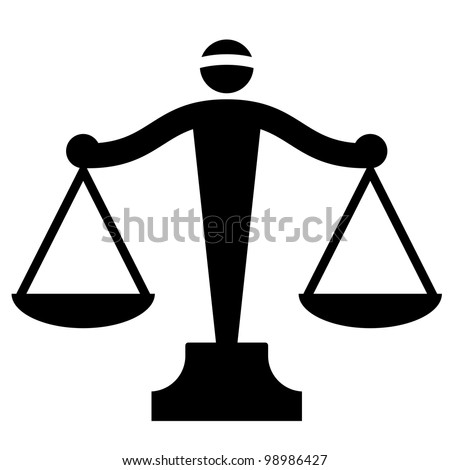 Vector icon of justice scales - stock vector