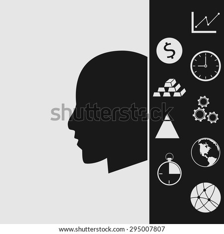 Vector icon of man. Flat design style. - stock vector