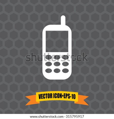 Vector Icon of Mobile Phone on Dark Gray Background. Eps.10. - stock vector