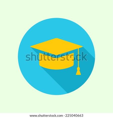 Vector icon of mortarboard or graduation cap. concept of knowledge and education. completion of learning and research for a doctoral degree. flat design with long shadow - stock vector