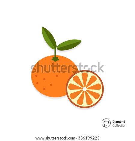 Vector icon of tangerine and cut tangerine half - stock vector