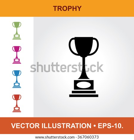 Vector Icon Of Trophy With Title & Small Multicolored Icons. Eps-10. - stock vector