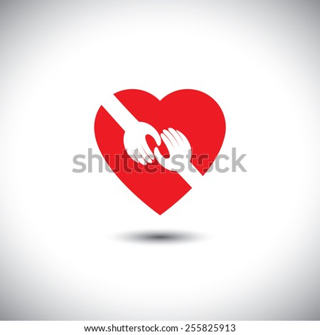 vector icon of two hands touching with heart - concept of love. This also represents concepts like support, help, empathy, kindness, partnership, friendship, cooperation, commitment, compassion, give - stock vector