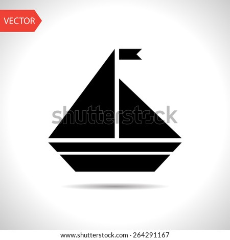 Vector icon of yacht - stock vector