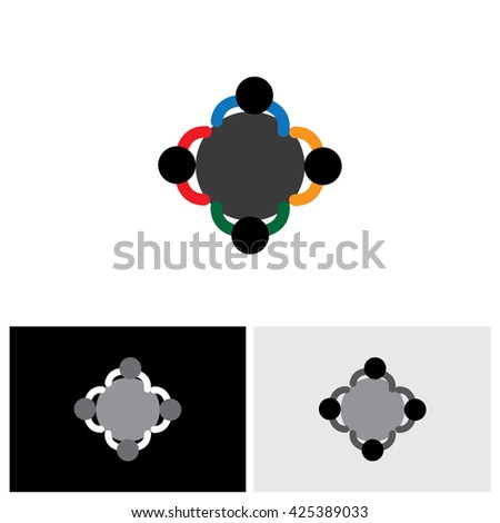 vector icon - office employees in a meeting or discussion - stock vector