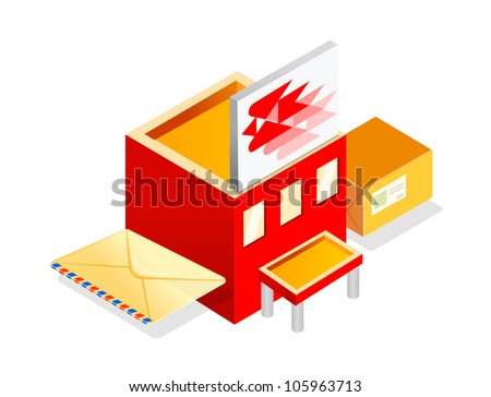 Cartoon Post Office Building Vector icon post office