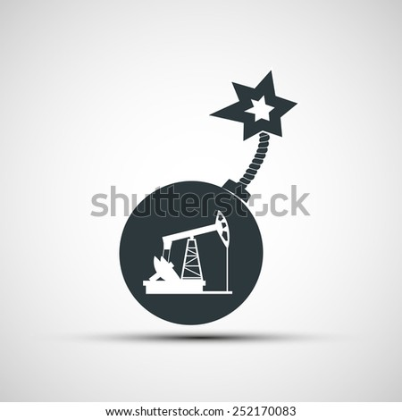 Vector icon round bomb with a fuse and a picture of a pump for oil - stock vector