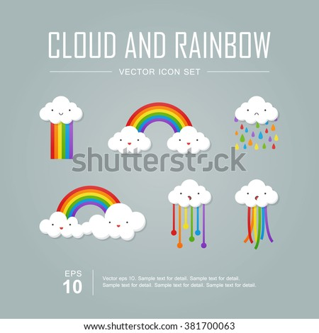 Vector icon set, Color rainbow with emotion clouds. - stock vector