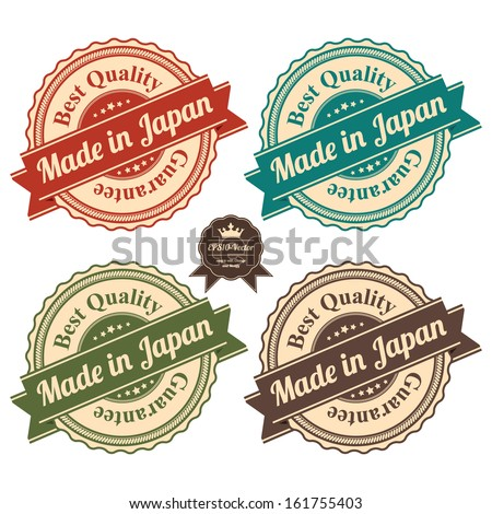 Vector : Icon Set for Quality Assurance and Quality Management Concept Present By Circle Colorful Vintage Style Icon With Made in Japan Best Quality Guarantee Isolated on White Background  - stock vector