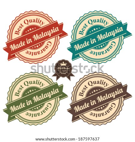 Vector : Icon Set for Quality Assurance and Quality Management Concept Present By Circle Colorful Vintage Style Icon With Made in Malaysia Best Quality Guarantee Isolated on White Background  - stock vector
