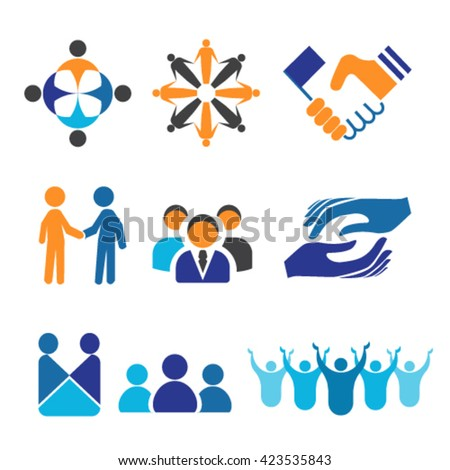 Vector icon set for Unity, Cooperation, Partnership and Teamwork - stock vector