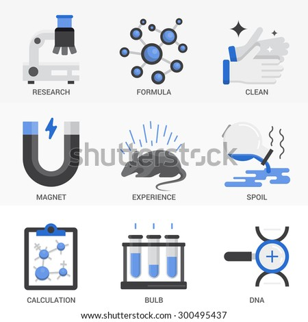 Vector icon set in a modern flat style for science and education. - stock vector