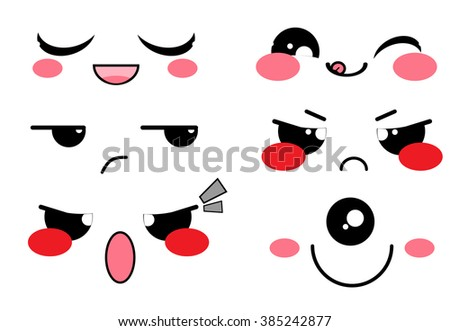 Vector icon set. Kawaii face, muzzle with different expressions. Funny, cute, sweet emotions, smiles. Flat cartoon style. Element for design.  - stock vector