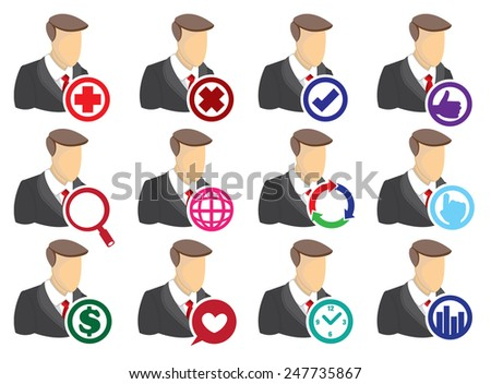 Vector Icon Set of businessman with round computer icons isolated on white background. Technology for business concept. - stock vector