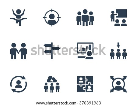 Vector icon set of corporate management and leadership training - stock vector