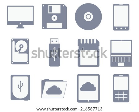 vector icon set of different storage and computer devices: floppy, compact disc, hard drive, tablet, mobile phone - isolated on white background - stock vector