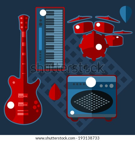 Vector icon set of electric musical instruments - stock vector