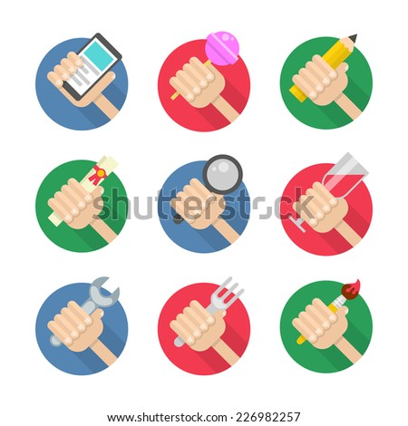Vector icon set of flat hand holding smart phone, lollipop, pencil, certificate, magnifying glass, wineglass, wrench, fork and paint brush - stock vector