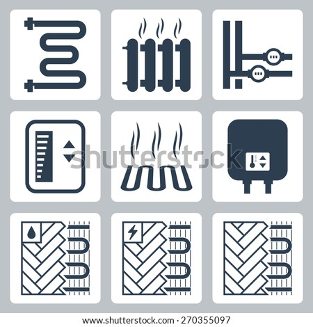 Vector icon set of heating and plumbing - stock vector