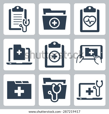 Vector icon set of patient medical record  - stock vector