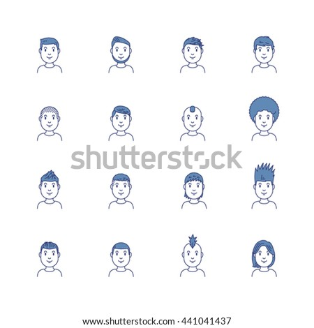 Vector icon set of trendy male hair style;male, boy, oung man, cut - stock vector