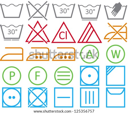 Vector icon set of washing signs and care label - stock vector