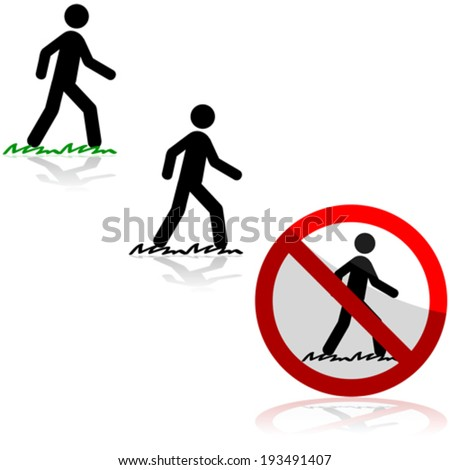 Vector icon set showing a man walking on grass and a sign saying it's forbidden to do so - stock vector