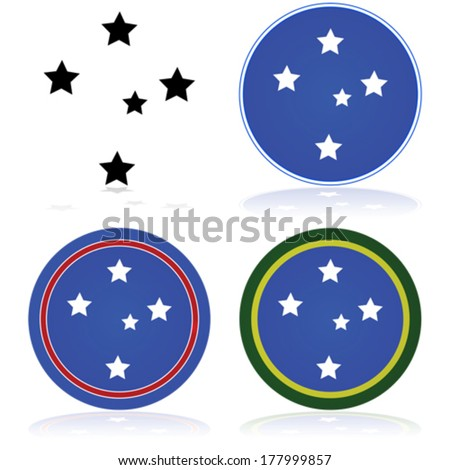 Vector icon set showing a stylized version of the Southern Cross constellation - stock vector