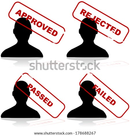Vector icon set showing the outline of a person and different stamps showing acceptance or rejection - stock vector