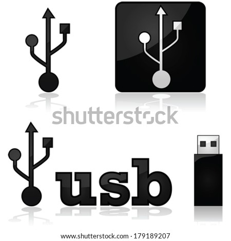 Vector icon set showing the sign for USB devices, as well as a memory stick beside the word USB - stock vector